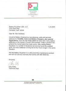 IBE Testimonial for Battery Equaliser