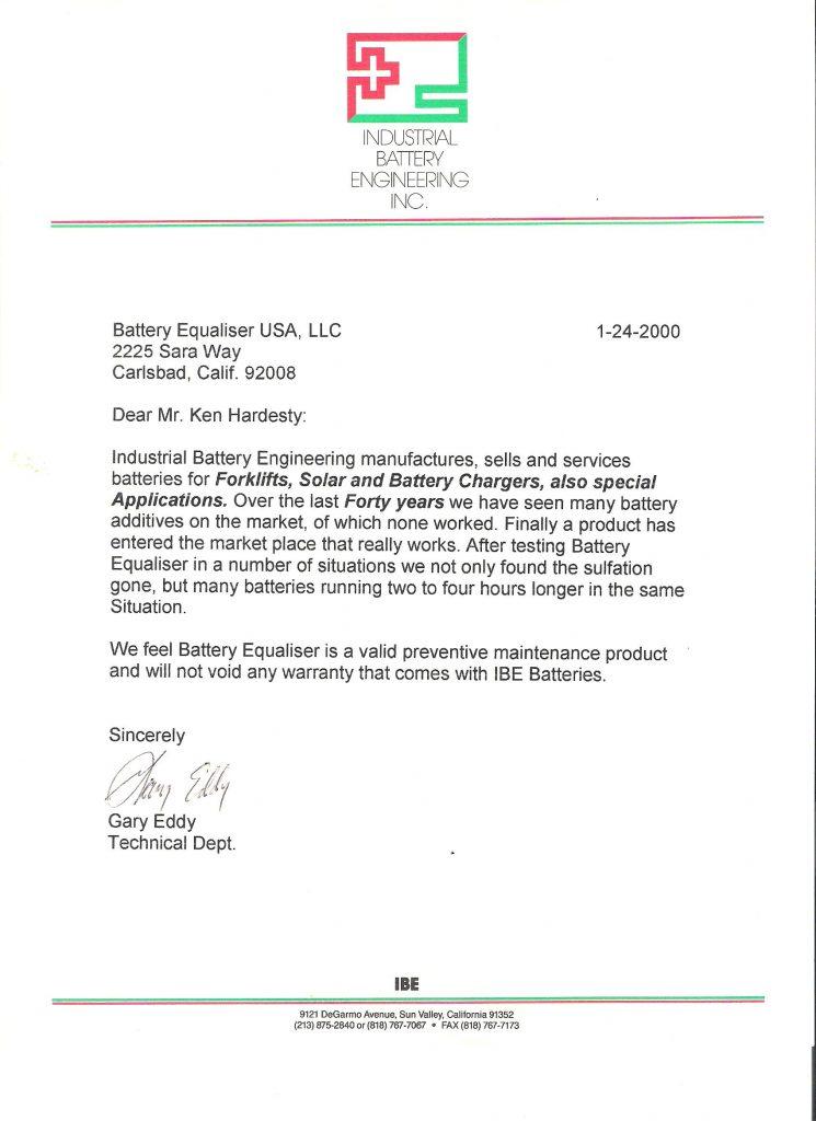 IBE Testimonial for Battery Equaliser